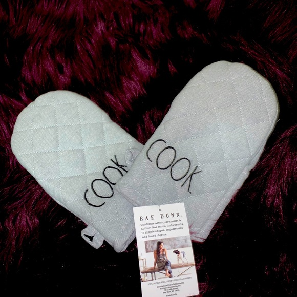"""Rae Dunn """"cook"""" gray oven mitts set of 2 NWT"""